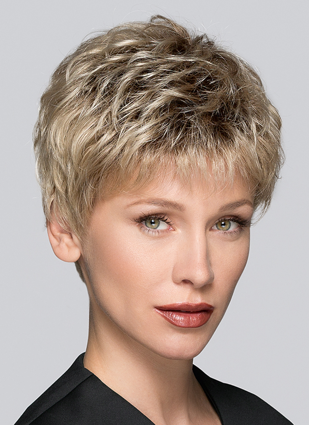 TAB by Ellen Wille in SANDY BLONDE ROOTED | Medium Honey Blonde, Light Ash Blonde, and Lightest Reddish Brown Blend with Dark Rootsold short layers