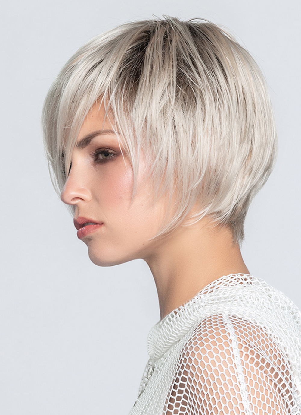Java   A sophisticated, chin-length bob wig with a perfect cut nape.