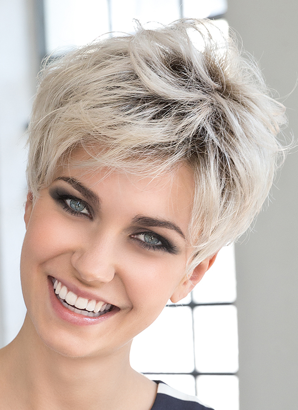 Stay Wig by Ellen Wille   Short Cut Wig with Lace Front   Colour Light Champagne Rooted