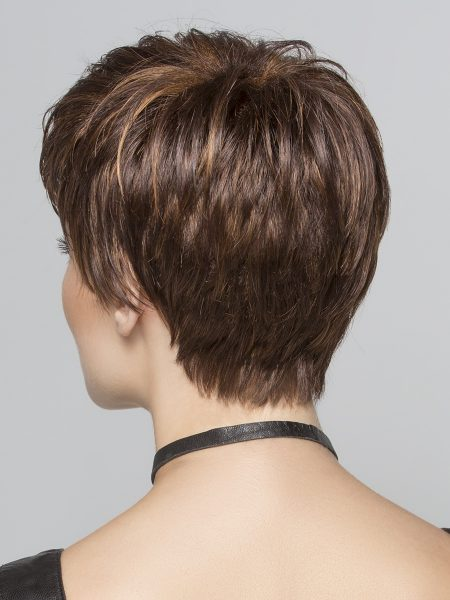 This cut has tapered strands in the back that hug the nape of the neck