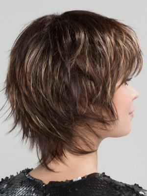 Shorter crown and longer nape creates a shag cut