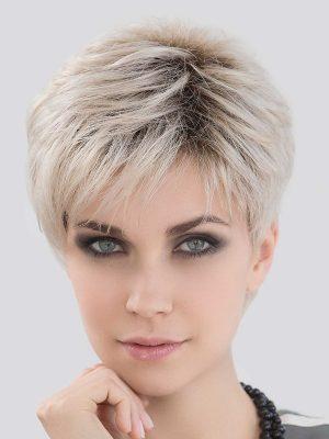 LOVE COMFORT by ELLEN WILLE in LIGHT CHAMPAGNE ROOTED | Light Beige Blonde, Medium Honey Blonde, and Platinum Blonde blend with Dark Roots