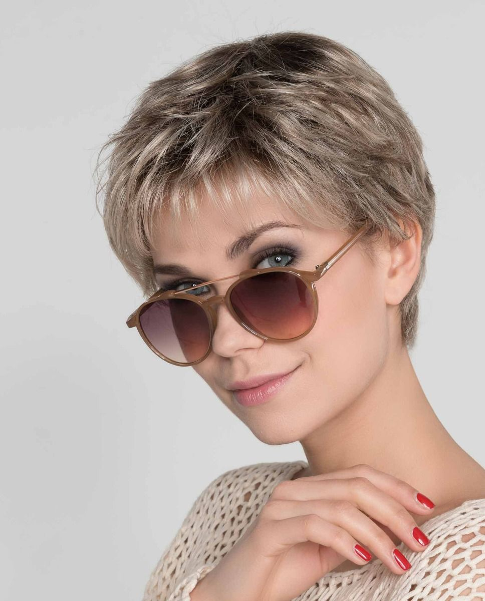 Mia Mono    Aclassic short Pixie style has a full monofilament top allowing you to part the hair in any direction.