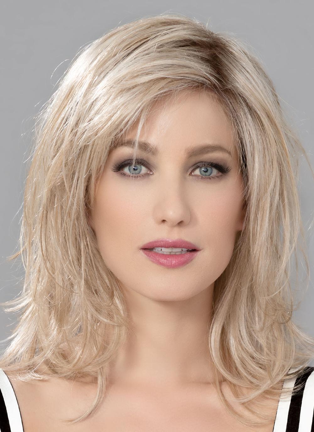 INTEREST by ELLEN WILLE in CHAMPAGNE ROOTED | Light Beige Blonde, Medium Honey Blonde, and Platinum Blonde blend with Dark Roots