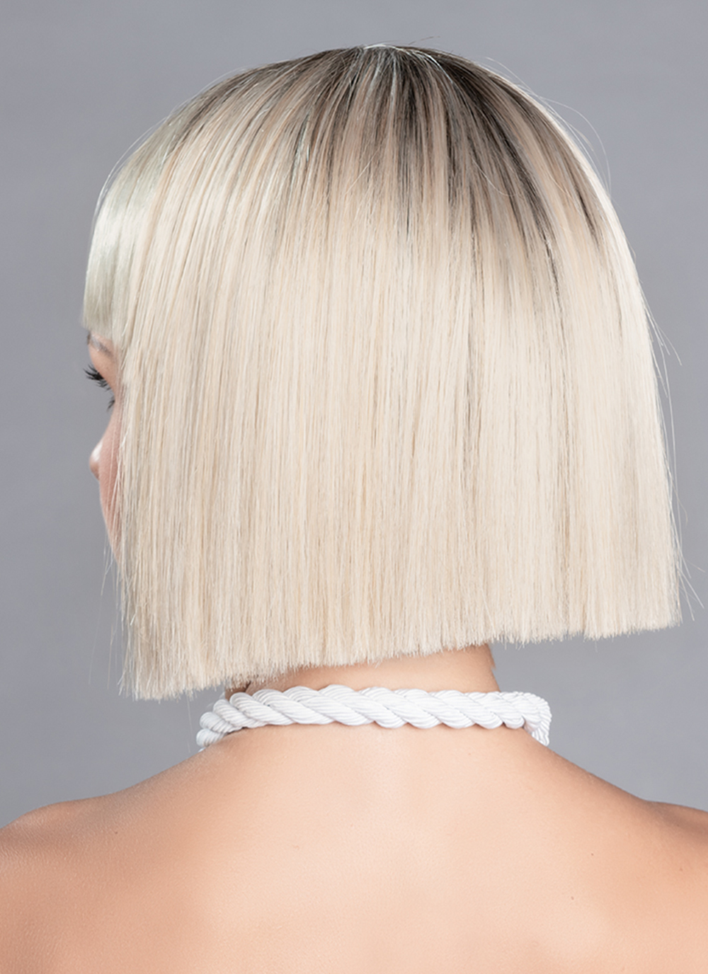 Cri is  modern beautiful blunt cut bob, with a full fringe with a mono top for a natural look