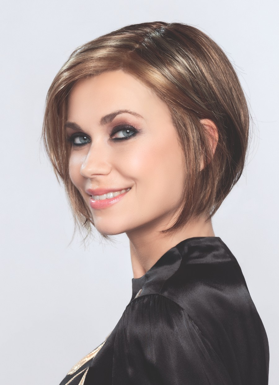 Sunset is a modern cut bob, designed with a monofilament part and a lace-front