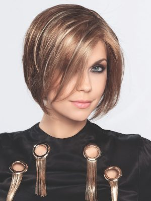SUNSET by ELLEN WILLE in TOBACCO LIGHTED | Medium Brown base with Light Golden Blonde highlights and Light Auburn lowlights and Dark Roots