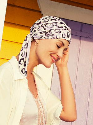 BEATRICE TURBAN with Ribbons Painted Leo 1419-0593 | Christine Headwear